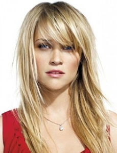 Long layered haircut with side bangs